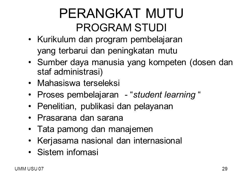 UMM USU 0729 PERANGKAT MUTU PROGRAM STUDI Kurikulum dan program pembelajaran yang terbarui dan peningkatan mutu Sumber daya manusia yang kompeten (dos