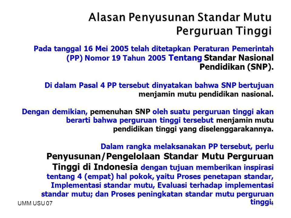 UMM USU 074 Alasan Penyusunan Standar Mutu Perguruan Tinggi Pada tanggal 16 Mei 2005 telah ditetapkan Peraturan Pemerintah (PP) Nomor 19 Tahun 2005 Te