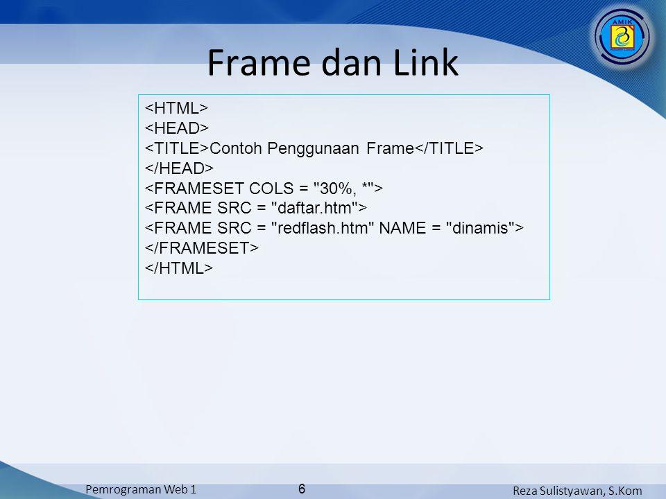 Reza Sulistyawan, S.Kom Pemrograman Web 1 6 Frame dan Link Contoh Penggunaan Frame