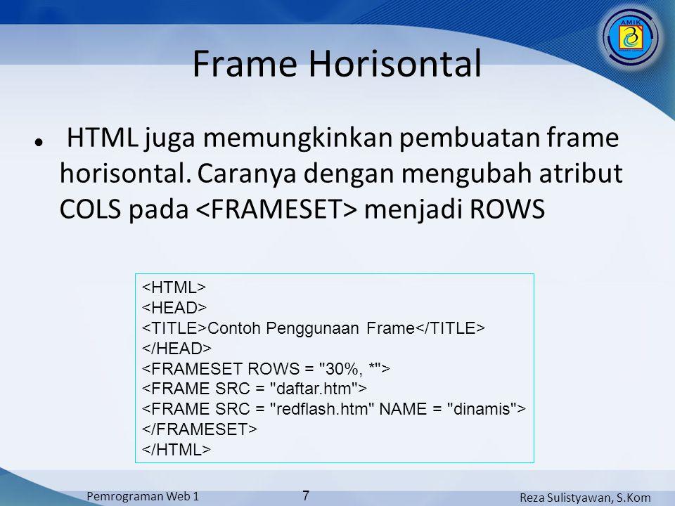 Reza Sulistyawan, S.Kom Pemrograman Web 1 8 Form Contoh penggunaan pasangan tag dan :...