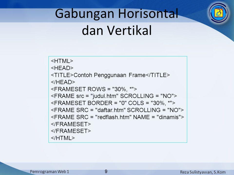Reza Sulistyawan, S.Kom Pemrograman Web 1 9 Gabungan Horisontal dan Vertikal Contoh Penggunaan Frame