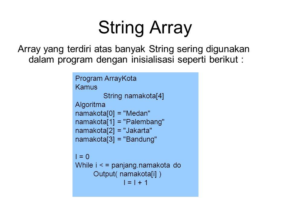 String Array Array yang terdiri atas banyak String sering digunakan dalam program dengan inisialisasi seperti berikut : Program ArrayKota Kamus String namakota[4] Algoritma namakota[0] = Medan namakota[1] = Palembang namakota[2] = Jakarta namakota[3] = Bandung I = 0 While i < = panjang.namakota do Output( namakota[i] ) I = I + 1