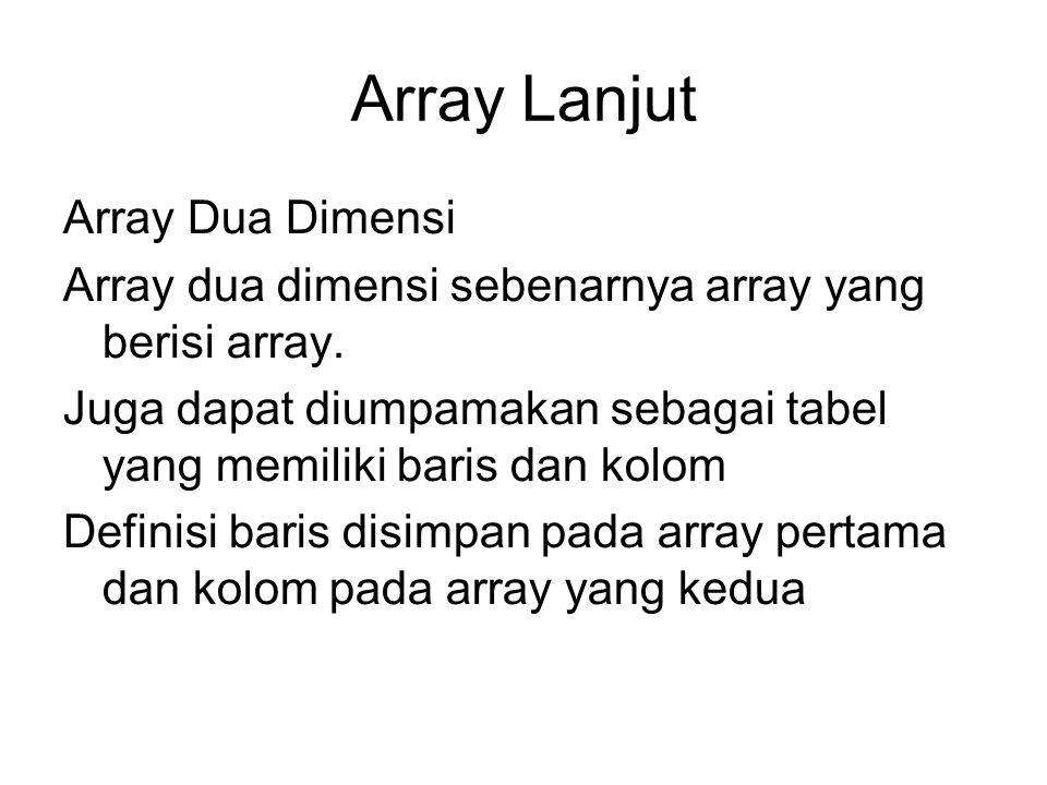 Array Lanjut Array Dua Dimensi Array dua dimensi sebenarnya array yang berisi array. Juga dapat diumpamakan sebagai tabel yang memiliki baris dan kolo
