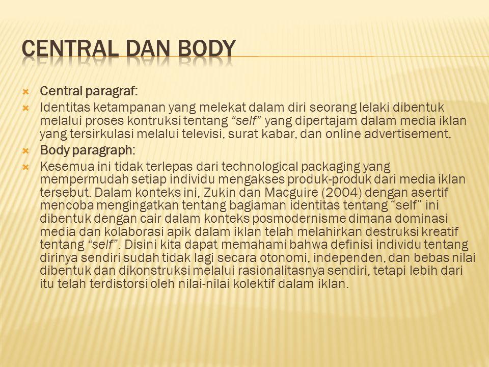 """ Central paragraf:  Identitas ketampanan yang melekat dalam diri seorang lelaki dibentuk melalui proses kontruksi tentang """"self"""" yang dipertajam dal"""