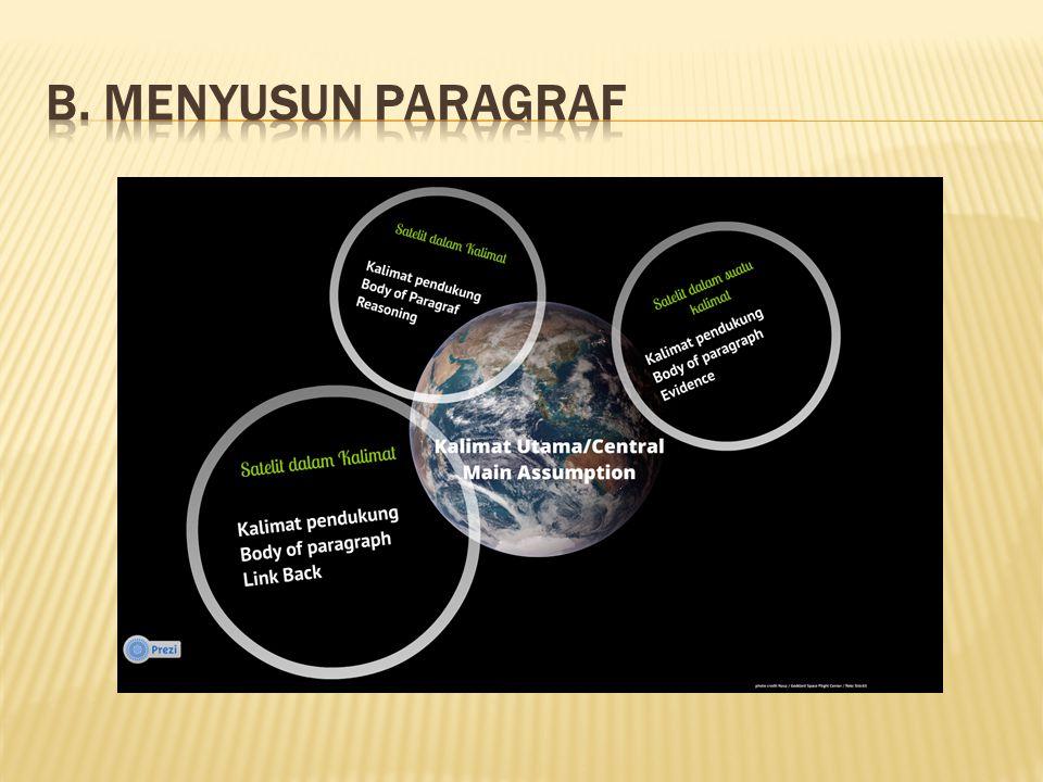  Membagi paragraf menjadi central and body  Membagi paragraf menjadi Assumption, Reasoning, Evidence, dan Link Back (AREL)