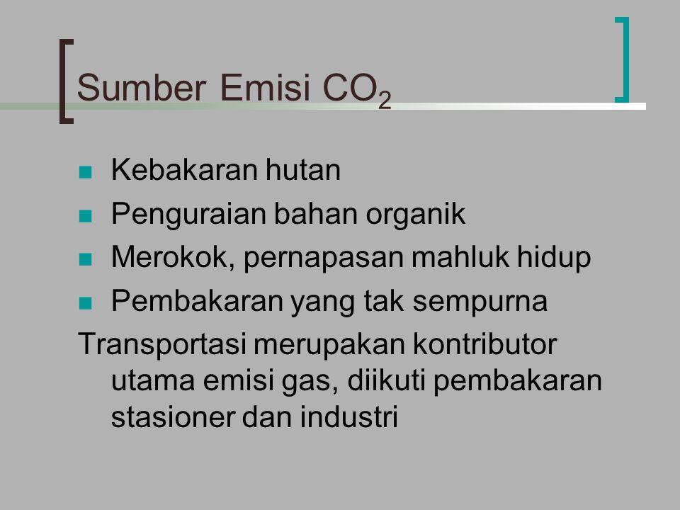 Sumber Emisi CO 2 Kebakaran hutan Penguraian bahan organik Merokok, pernapasan mahluk hidup Pembakaran yang tak sempurna Transportasi merupakan kontributor utama emisi gas, diikuti pembakaran stasioner dan industri
