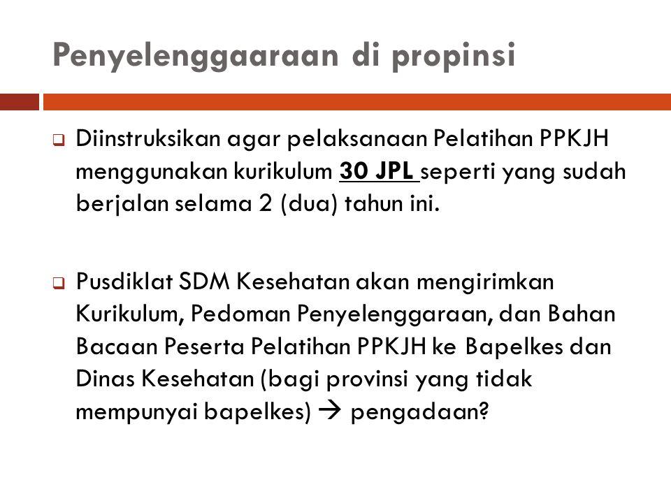 Penyelenggaaraan di propinsi  Diinstruksikan agar pelaksanaan Pelatihan PPKJH menggunakan kurikulum 30 JPL seperti yang sudah berjalan selama 2 (dua)