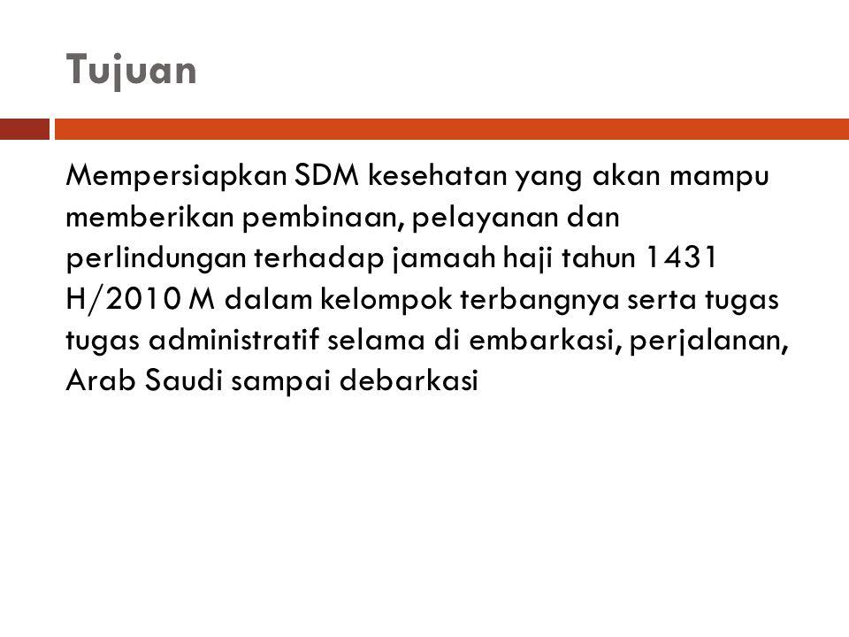 Tujuan Mempersiapkan SDM kesehatan yang akan mampu memberikan pembinaan, pelayanan dan perlindungan terhadap jamaah haji tahun 1431 H/2010 M dalam kel