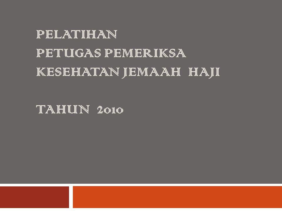 Kurikulum NoMATERI DokterPerawat TPPLJMTPPLJM AMateri Dasar 1 Kebijakan penyelenggaraan kesehatan haji Indonesia dan Ta'limatul Hajj Kerajaan Arab Saudi 2--22--2 BMateri Inti Umum 1Pelayanan kesehatan jemaah haji di kloter24282428 2 Identifikasi & Pemantauan lanjut (Follow up) dan faktor-faktor resiko di kloter 12141214 3 Investigasi dan pengendalian wabah/KLB penyakit menular dan dampak bencana 12141214 4 Pengembangan tim dalam jejaring kerja kesehatan haji di kloter 12141214 5 Penanggulangan gawat darurat medik dan bedah di lapangan serta evakuasi dengan atau tanpa alat 25182518 6 Pencatatan dan pelaporan 24282428