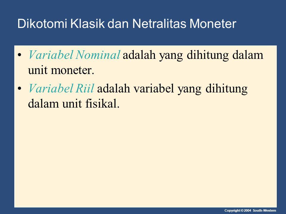 Copyright © 2004 South-Western Dikotomi Klasik dan Netralitas Moneter Variabel Nominal adalah yang dihitung dalam unit moneter. Variabel Riil adalah v