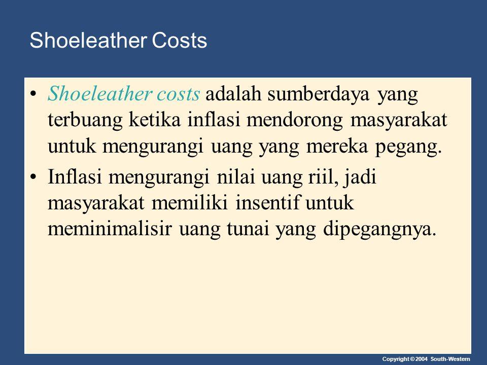 Copyright © 2004 South-Western Shoeleather Costs Shoeleather costs adalah sumberdaya yang terbuang ketika inflasi mendorong masyarakat untuk mengurang