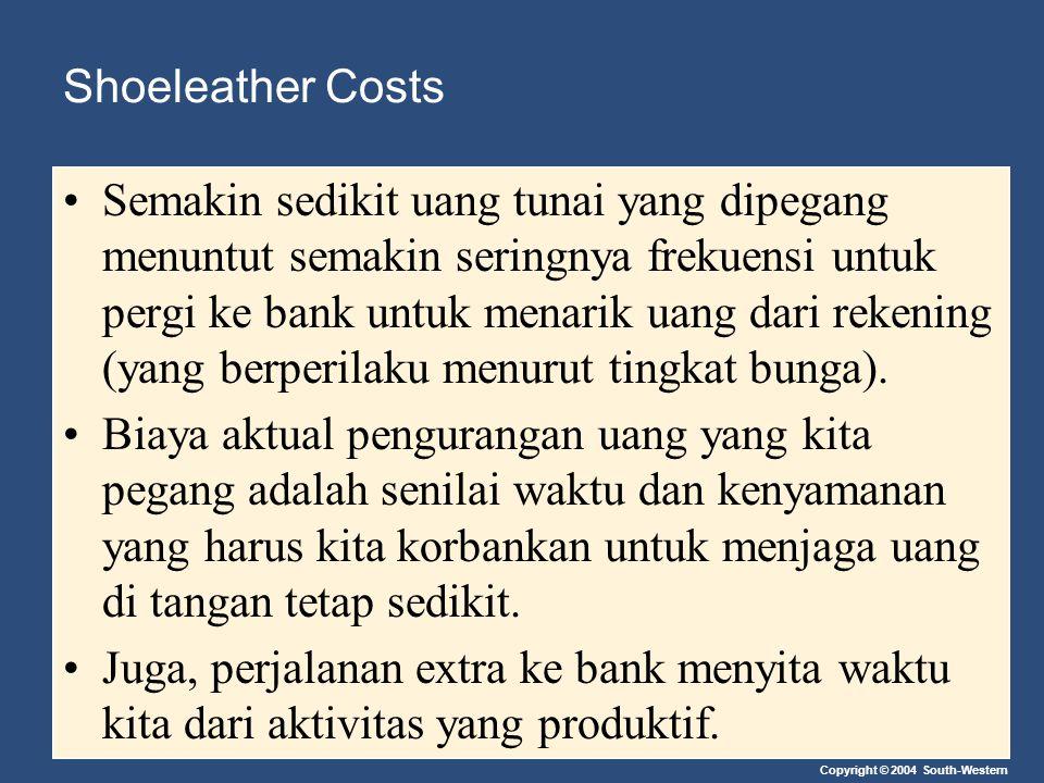 Copyright © 2004 South-Western Shoeleather Costs Semakin sedikit uang tunai yang dipegang menuntut semakin seringnya frekuensi untuk pergi ke bank unt