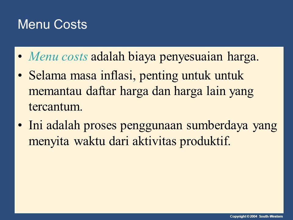 Copyright © 2004 South-Western Menu Costs Menu costs adalah biaya penyesuaian harga. Selama masa inflasi, penting untuk untuk memantau daftar harga da