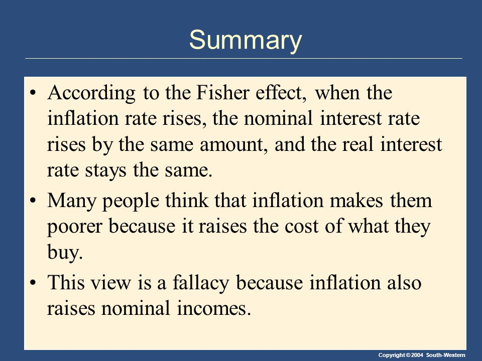 Copyright © 2004 South-Western Summary According to the Fisher effect, when the inflation rate rises, the nominal interest rate rises by the same amou