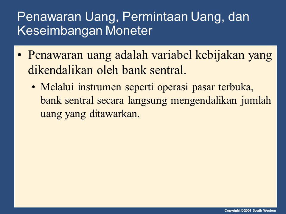 Copyright © 2004 South-Western Penawaran Uang, Permintaan Uang, dan Keseimbangan Moneter Penawaran uang adalah variabel kebijakan yang dikendalikan ol