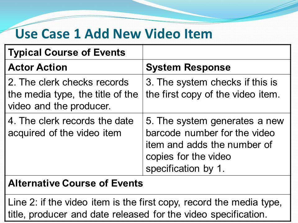 Use Case 1 Add New Video Item (continued) 10 Typical Course of Events Actor ActionSystem Response 2.