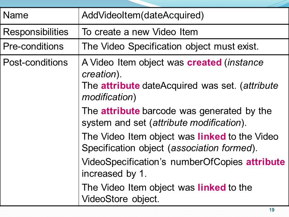 19 NameAddVideoItem(dateAcquired) ResponsibilitiesTo create a new Video Item Pre-conditionsThe Video Specification object must exist.
