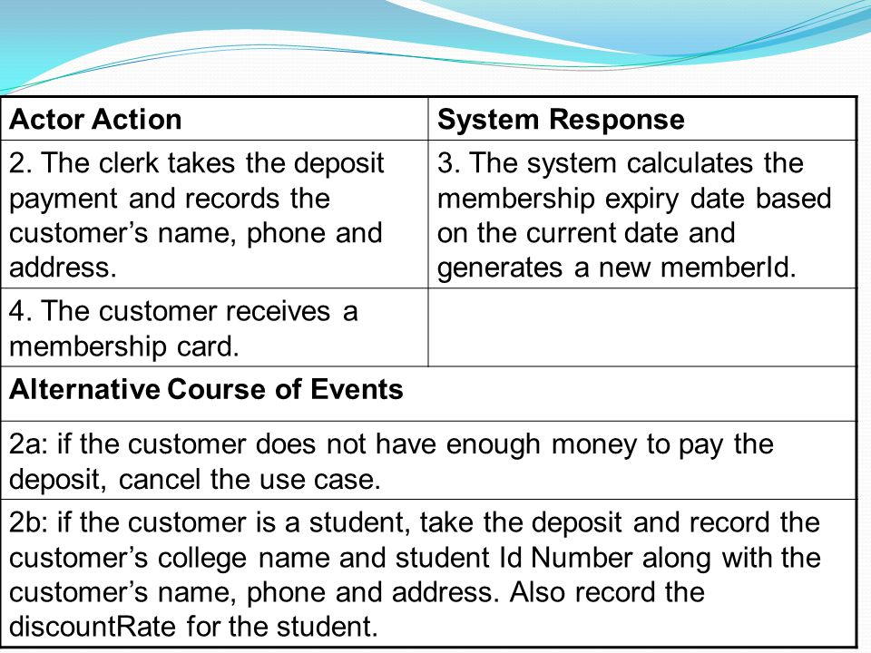 Use Case 2 (continued) 23 Actor ActionSystem Response 2.