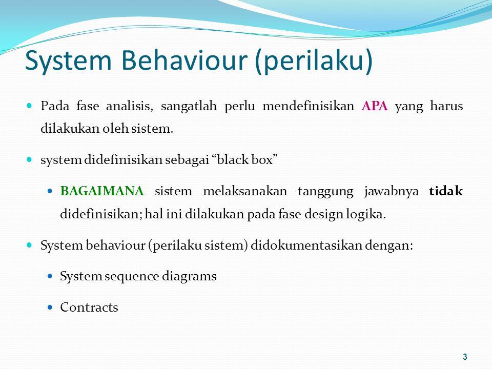 System Behaviour (perilaku) Pada fase analisis, sangatlah perlu mendefinisikan APA yang harus dilakukan oleh sistem.