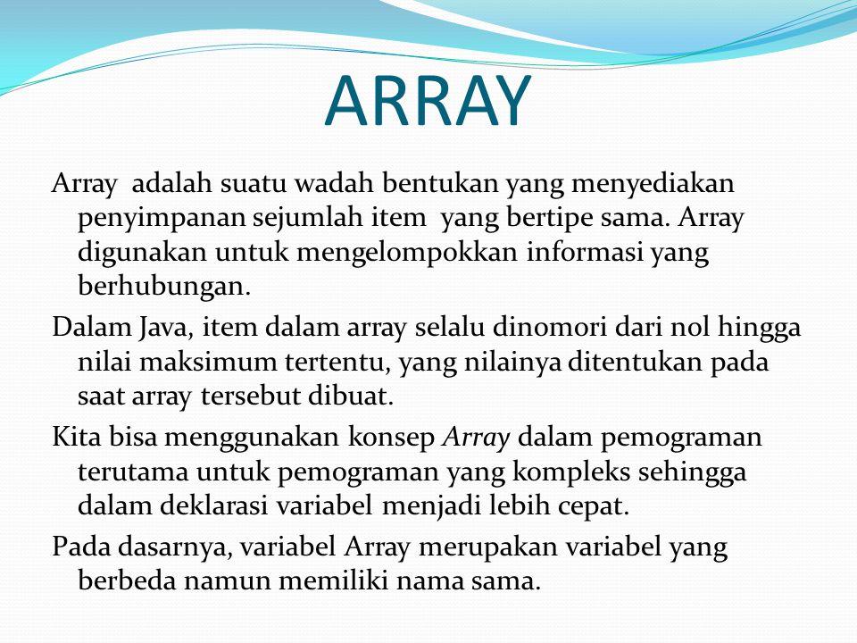 ARRAY Array adalah suatu wadah bentukan yang menyediakan penyimpanan sejumlah item yang bertipe sama.