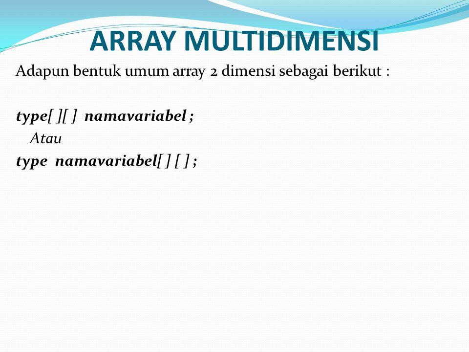 ARRAY MULTIDIMENSI Adapun bentuk umum array 2 dimensi sebagai berikut : type[ ][ ] namavariabel ; Atau type namavariabel[ ] [ ] ;