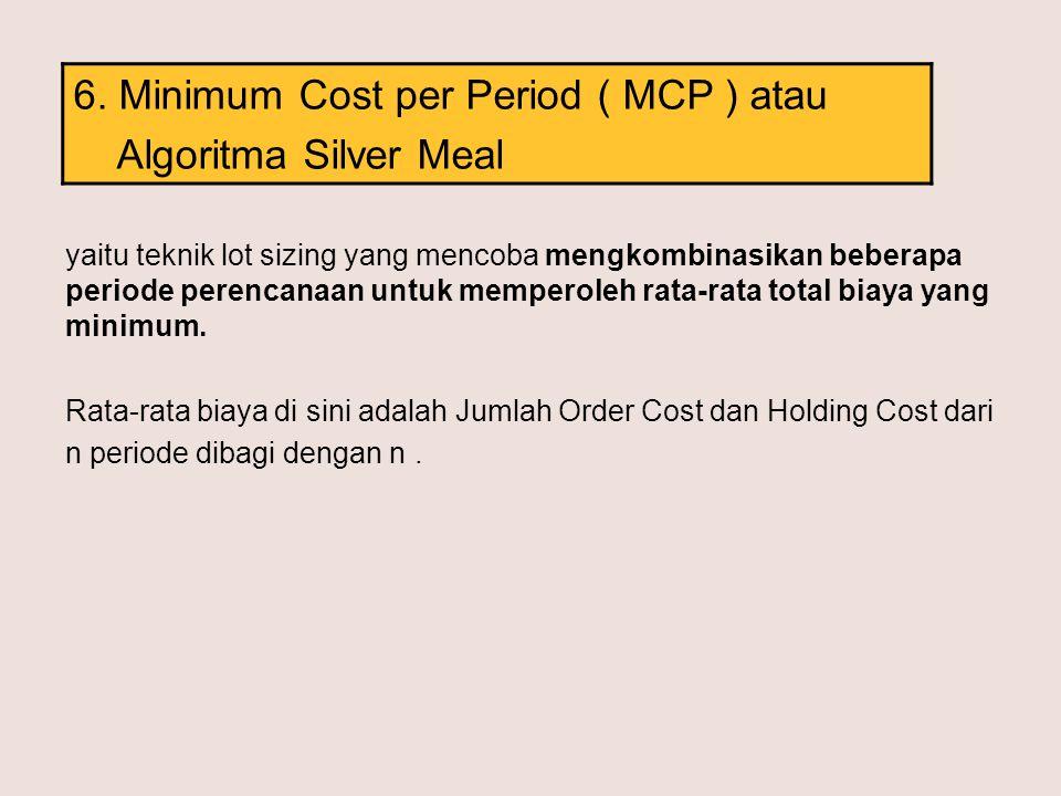 6. Minimum Cost per Period ( MCP ) atau Algoritma Silver Meal yaitu teknik lot sizing yang mencoba mengkombinasikan beberapa periode perencanaan untuk