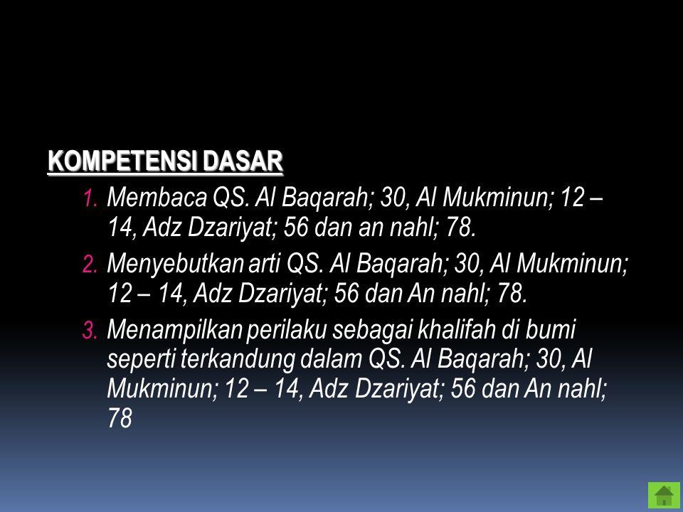 KOMPETENSI DASAR 1.Membaca QS.
