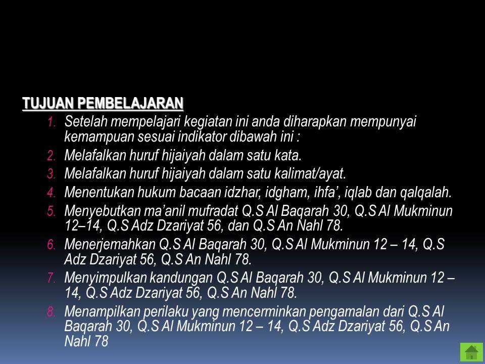 KOMPETENSI DASAR 1. Membaca QS. Al Baqarah; 30, Al Mukminun; 12 – 14, Adz Dzariyat; 56 dan an nahl; 78. 2. Menyebutkan arti QS. Al Baqarah; 30, Al Muk