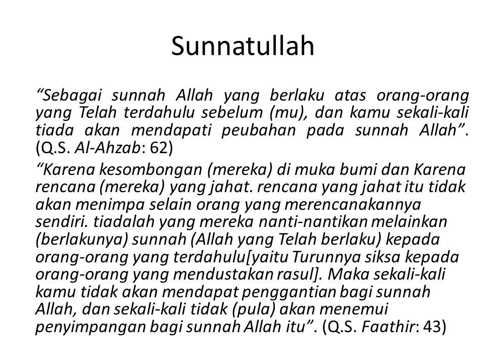 Sunnatullah Sebagai sunnah Allah yang berlaku atas orang-orang yang Telah terdahulu sebelum (mu), dan kamu sekali-kali tiada akan mendapati peubahan pada sunnah Allah .
