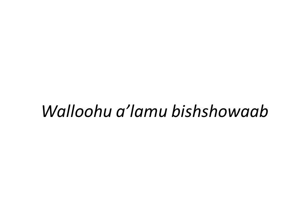 Walloohu a'lamu bishshowaab