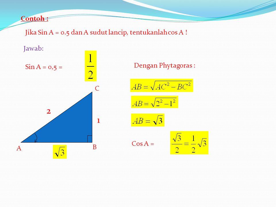 Contoh : Jika Sin A = 0.5 dan A sudut lancip, tentukanlah cos A ! Jawab: B A C Sin A = 0,5 = 2 1 Dengan Phytagoras : Cos A =