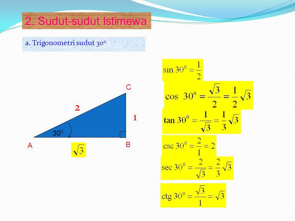 b. Trigonometri sudut 45 0 BA C 45 0 1 1