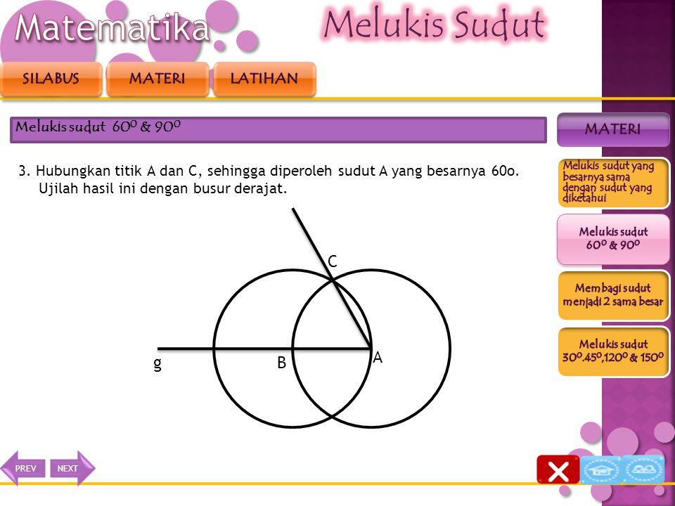 2. Kemudian dengan jari-jari yang sama, buatlah busur lingkaran dengan B sebagai titik pusatnya, sehingga memotong busur tersebut di titik C. Melukis