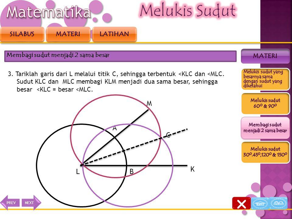 2. Dengan jari-jari yang sama, masing-masing buatlah busur lingkaran dengan pusat titik A dan B, sehingga kedua busur berpotongan di titik C. Membagi