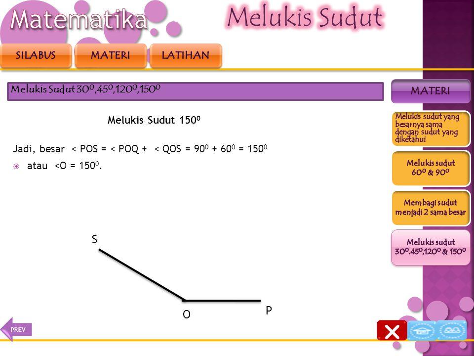 Melukis Sudut 150 0 2. Kemudian dari kaki sudut OQ, lukislah sudut yang besarnya 60 0, sehingga diperoleh <QOS = 60o. Melukis Sudut 30 0,45 0,120 0,15