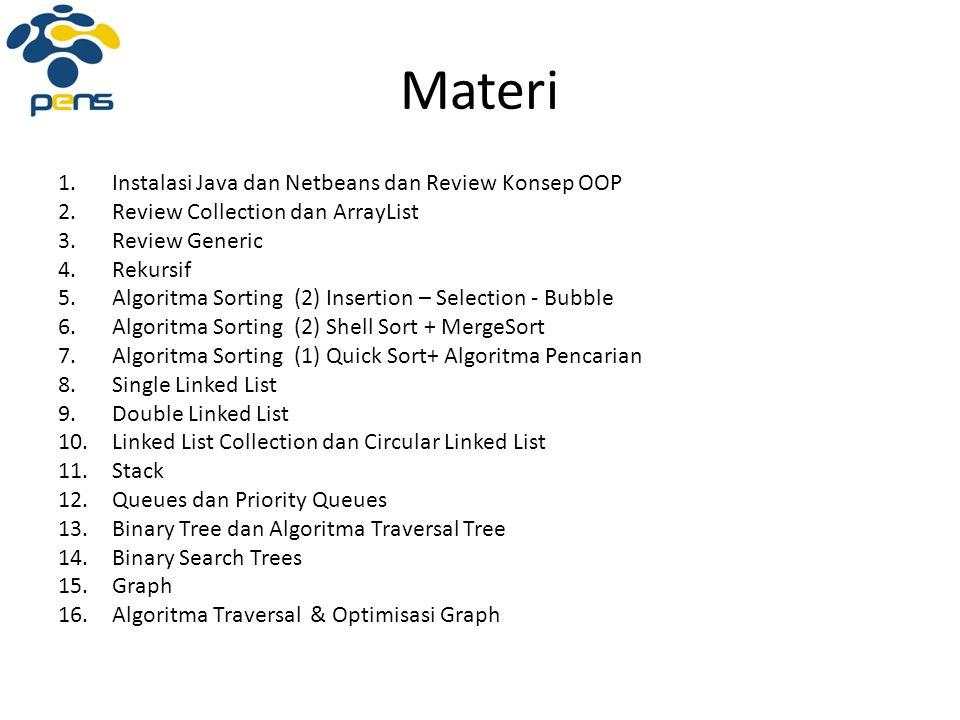 Materi 1.Instalasi Java dan Netbeans dan Review Konsep OOP 2.Review Collection dan ArrayList 3.Review Generic 4.Rekursif 5.Algoritma Sorting (2) Inser