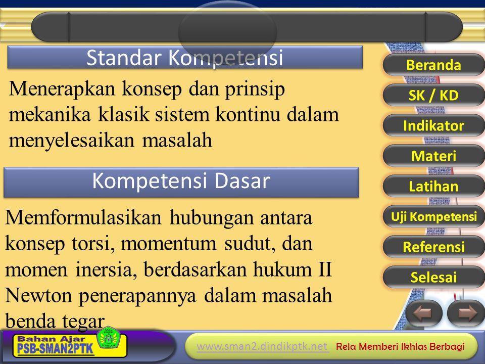 www.sman2.dindikptk.net www.sman2.dindikptk.net Rela Memberi Ikhlas Berbagi www.sman2.dindikptk.net www.sman2.dindikptk.net Rela Memberi Ikhlas Berbagi Standar Kompetensi Menerapkan konsep dan prinsip mekanika klasik sistem kontinu dalam menyelesaikan masalah Kompetensi Dasar Beranda SK / KD Indikator Materi Latihan Uji Kompetensi Referensi Selesai Memformulasikan hubungan antara konsep torsi, momentum sudut, dan momen inersia, berdasarkan hukum II Newton penerapannya dalam masalah benda tegar