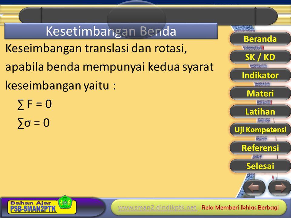 www.sman2.dindikptk.net www.sman2.dindikptk.net Rela Memberi Ikhlas Berbagi www.sman2.dindikptk.net www.sman2.dindikptk.net Rela Memberi Ikhlas Berbagi Kesetimbangan Benda Keseimbangan translasi dan rotasi, apabila benda mempunyai kedua syarat keseimbangan yaitu : ∑ F = 0 ∑σ = 0 Beranda SK / KD Indikator Materi Latihan Uji Kompetensi Referensi Selesai