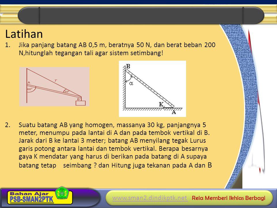 www.sman2.dindikptk.net www.sman2.dindikptk.net Rela Memberi Ikhlas Berbagi www.sman2.dindikptk.net www.sman2.dindikptk.net Rela Memberi Ikhlas Berbagi Latihan 1.Jika panjang batang AB 0,5 m, beratnya 50 N, dan berat beban 200 N,hitunglah tegangan tali agar sistem setimbang.