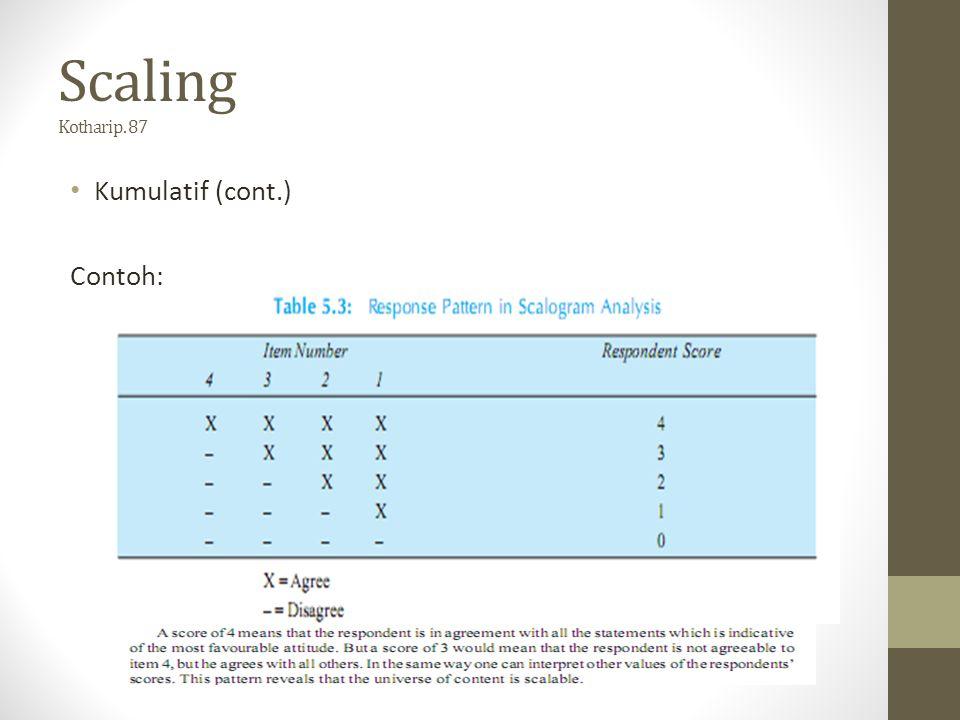 Scaling Kothari p. 87 Kumulatif (cont.) Contoh: