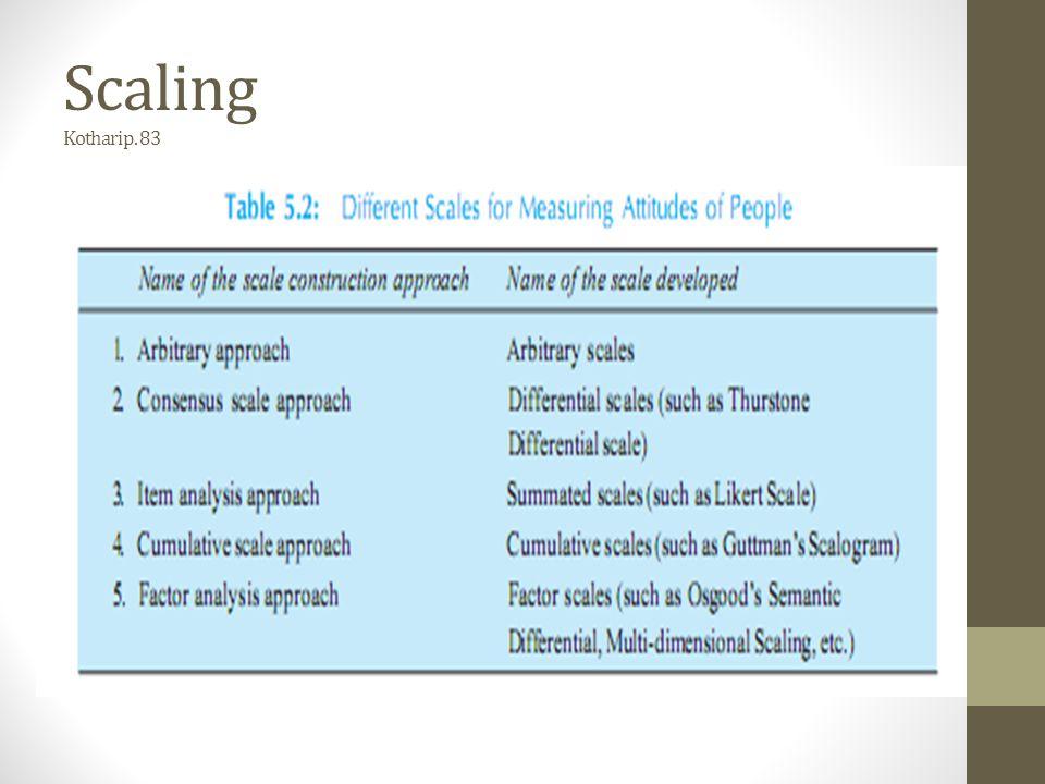 Scaling 1.Pendekatan arbitrer Teknik scaling yang dikembangkan sesuai kebutuhan.