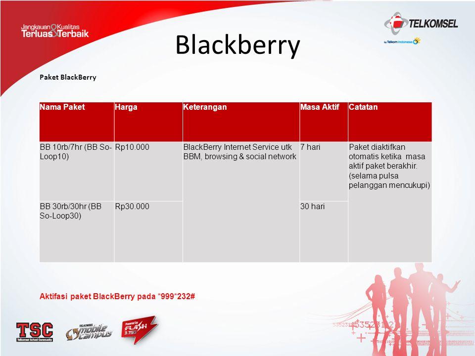 Blackberry Paket BlackBerry Nama PaketHargaKeteranganMasa AktifCatatan BB 10rb/7hr (BB So- Loop10) Rp10.000BlackBerry Internet Service utk BBM, browsi