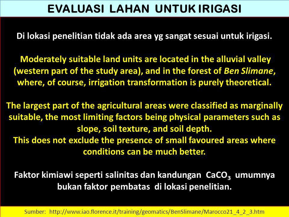 EVALUASI LAHAN UNTUK IRIGASI Di lokasi penelitian tidak ada area yg sangat sesuai untuk irigasi. Moderately suitable land units are located in the all