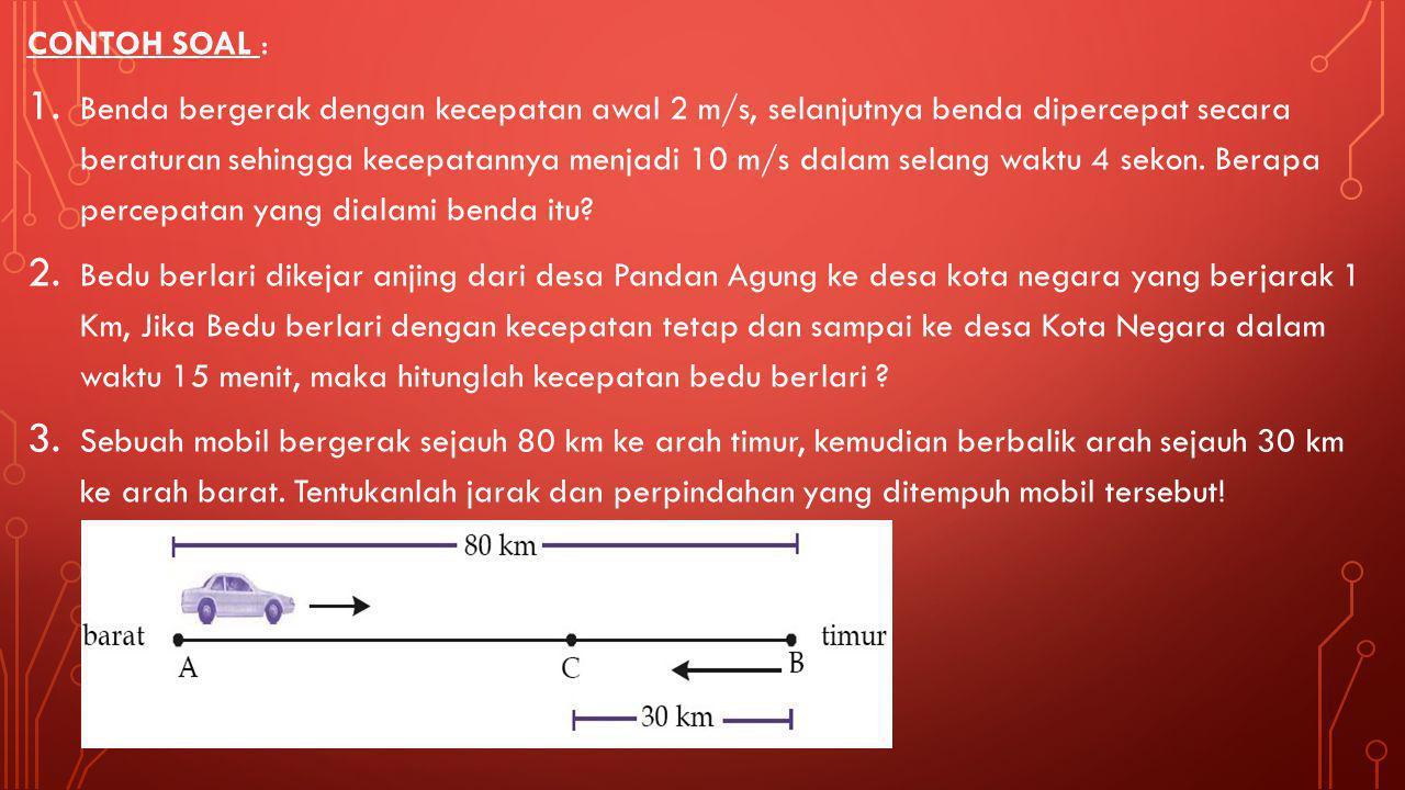 RUMUS GLBB : vt = kecepatan sesaat benda v0 = kecepatan awal benda S = jarak yang ditempuh benda f(t) = fungsi dari waktu t Jika ada waktu (t) Jika ad