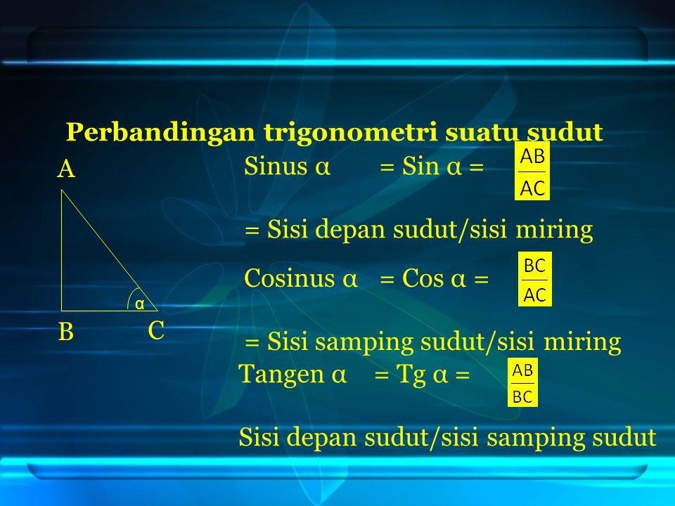 Perbandingan trigonometri suatu sudut Sinus α = Sin α = = Sisi depan sudut/sisi miring Cosinus α = Cos α = = Sisi samping sudut/sisi miring Tangen α =