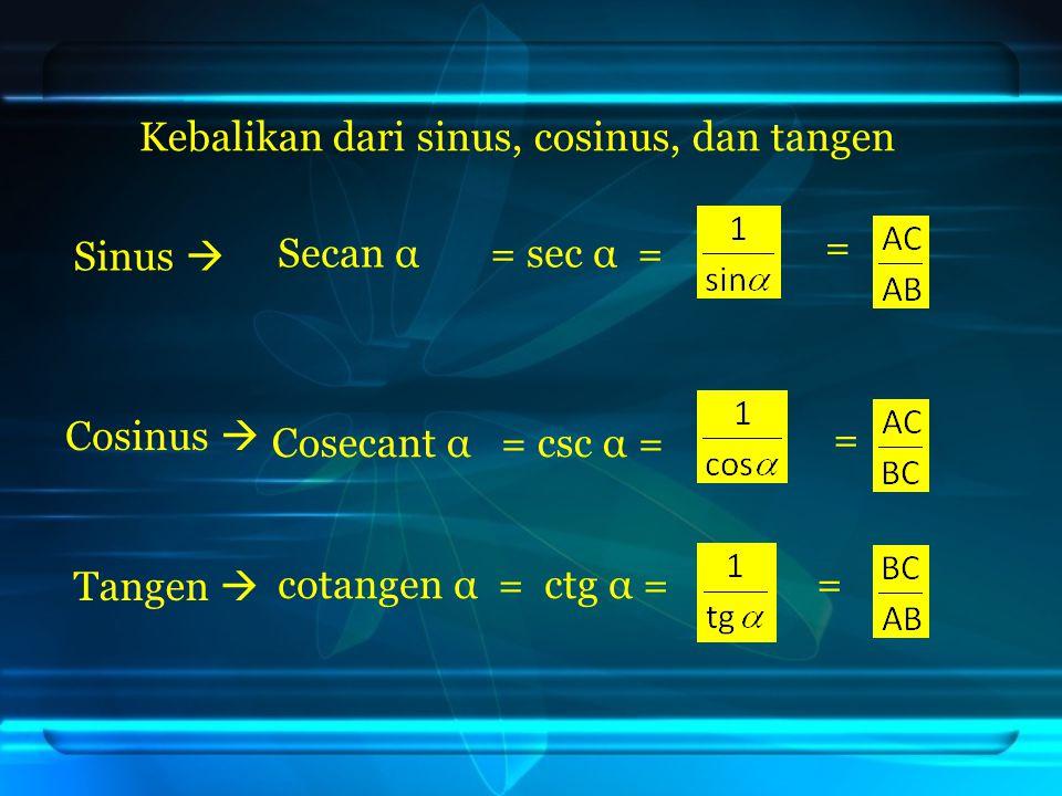cotangen α = ctg α = = Secan α = sec α = Cosecant α = csc α = = = Kebalikan dari sinus, cosinus, dan tangen Sinus  Cosinus  Tangen 