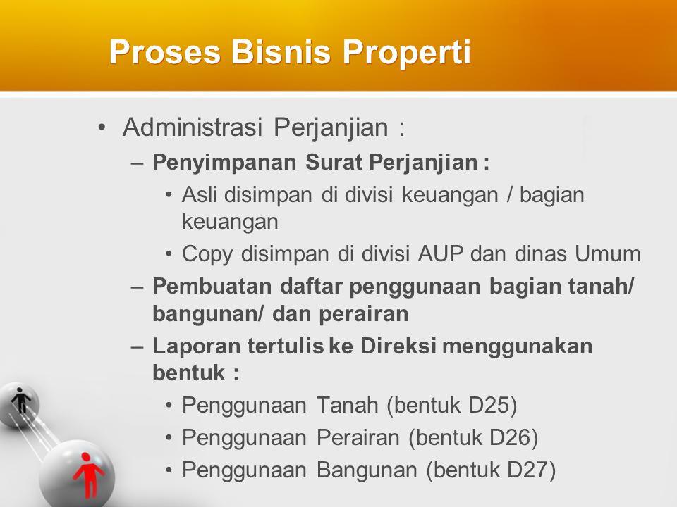 Administrasi Perjanjian : –Penyimpanan Surat Perjanjian : Asli disimpan di divisi keuangan / bagian keuangan Copy disimpan di divisi AUP dan dinas Umu