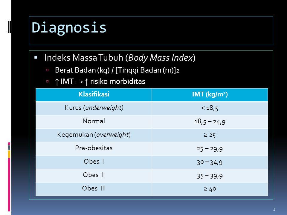 Diagnosis  Indeks Massa Tubuh (Body Mass Index)  Berat Badan (kg) / [ Tinggi Badan (m) ] 2  ↑ IMT → ↑ risiko morbiditas KlasifikasiIMT (kg/m 2 ) Ku