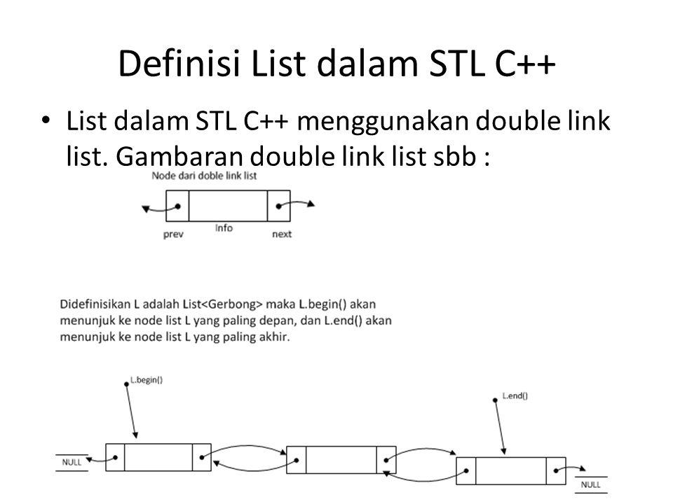 Definisi List dalam STL C++ List dalam STL C++ menggunakan double link list. Gambaran double link list sbb :