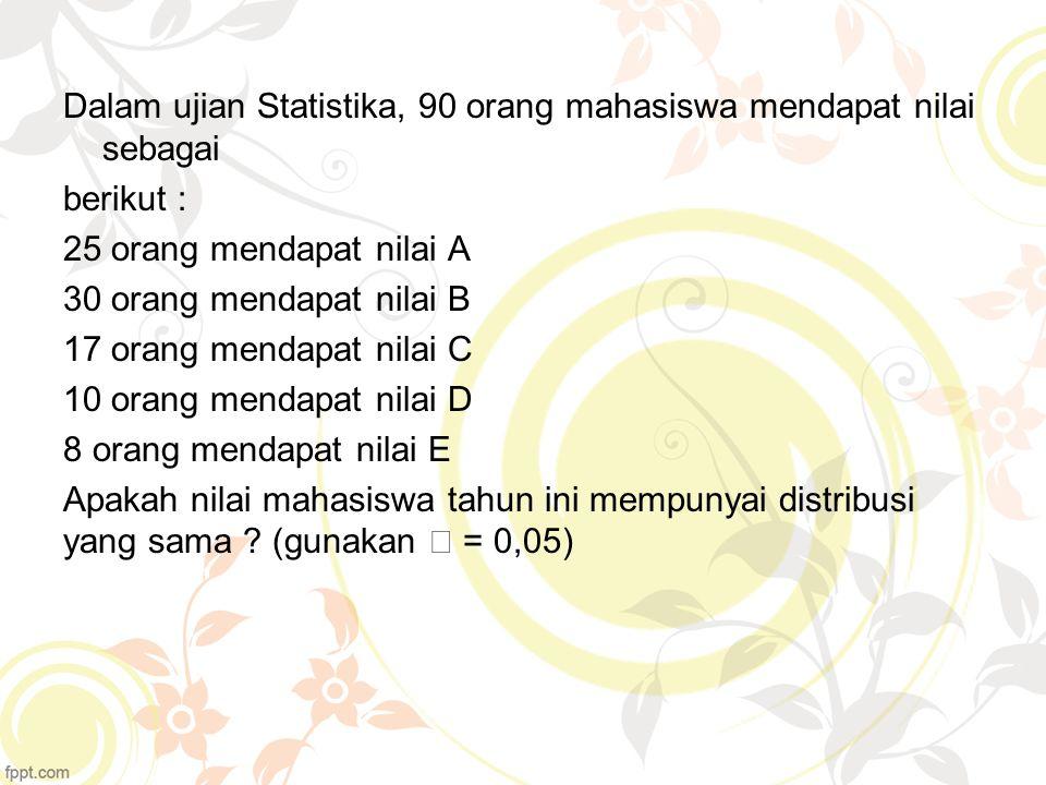 Dalam ujian Statistika, 90 orang mahasiswa mendapat nilai sebagai berikut : 25 orang mendapat nilai A 30 orang mendapat nilai B 17 orang mendapat nila